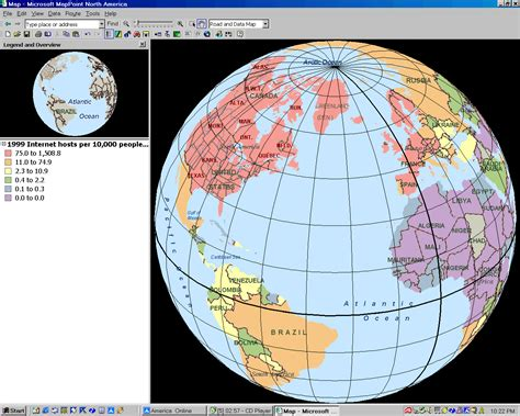Parallels and Meridians Display in MapPoint 2002