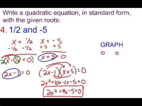 6-3B Writing a Quadratic Equation in standard form with