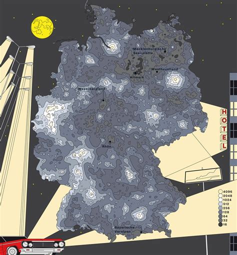 Light pollution map of Germany - Vivid Maps