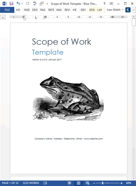 Scope of Work Template (MS Word/Excel) – Templates, Forms