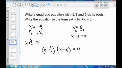 6 3 Example 2 write the quadratic equation given the roots