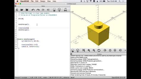 OpenSCAD - Making a Lego Block - In Class Example - YouTube