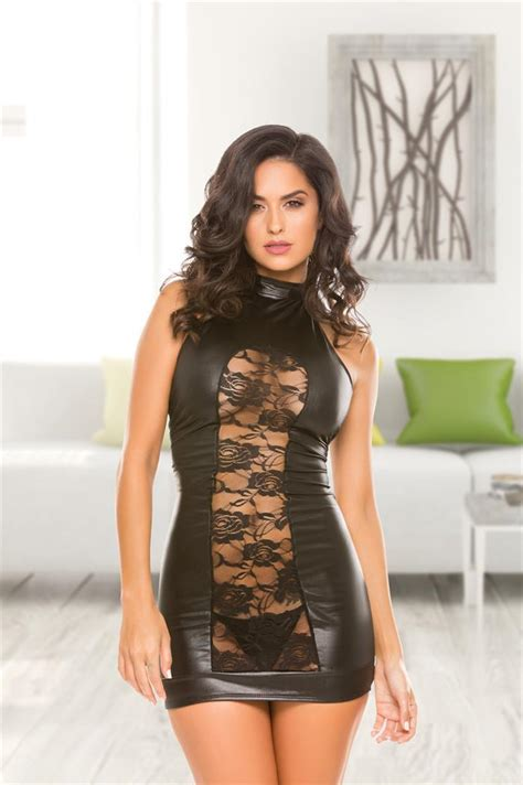 Wet look dress with floral lace front - SpicyLegs