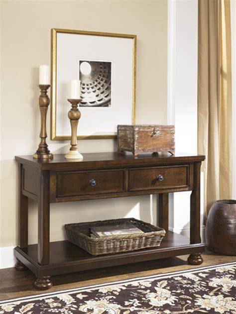 Two-Drawer Casual Console Sofa Table in Burnished Brown