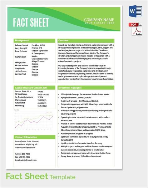 Fact sheet template 15 free word pdf documents download