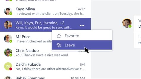 Leave a group chat in Teams - Office Support